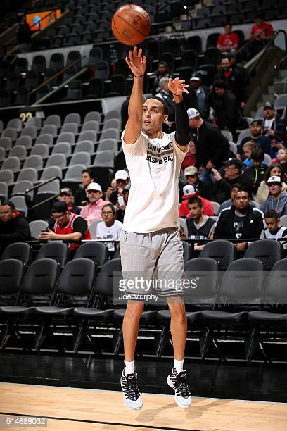 Kevin Martin of the San Antonio Spurs warms up before the game against the Chicago Bulls on March 10 2016 at the ATT Center in San Antonio Texas NOTE...