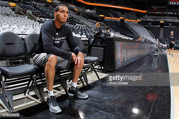 Kevin Martin of the San Antonio Spurs warms up before the game against the Oklahoma City Thunder in Game One of the Western Conference Semifinals...