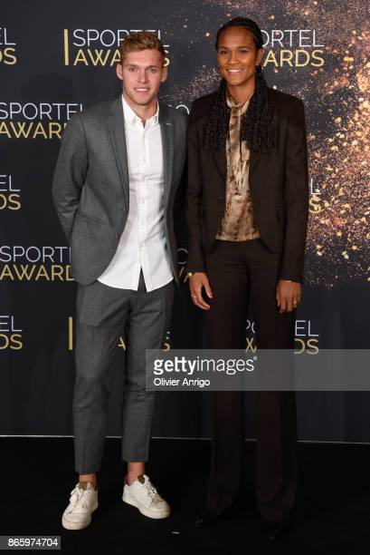 Kevin Mayer and Wendie Renard attend SPORTEL Monaco 2017 at the Grimaldi Forum on October 24 2017 in Monaco Monaco