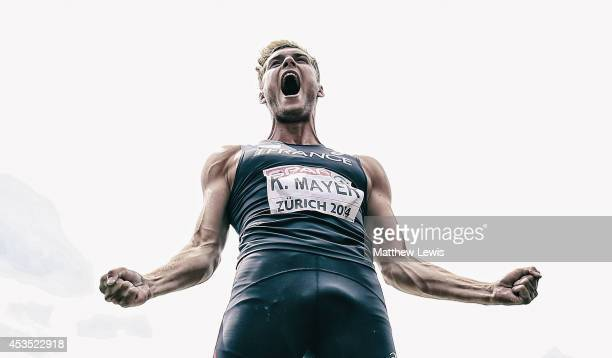 Kevin Mayer of France celebrates a throw in the Decathlon Shot Putt during day one of the 22nd European Athletics Championship at Stadium Letzigrund...