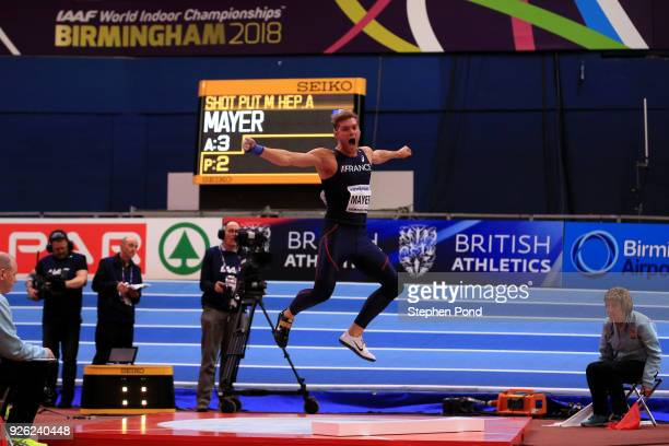Kevin Mayer of France celebrates after winning the Shot Put Mens Heptathlon during the IAAF World Indoor Championships on Day Two at Arena Birmingham...