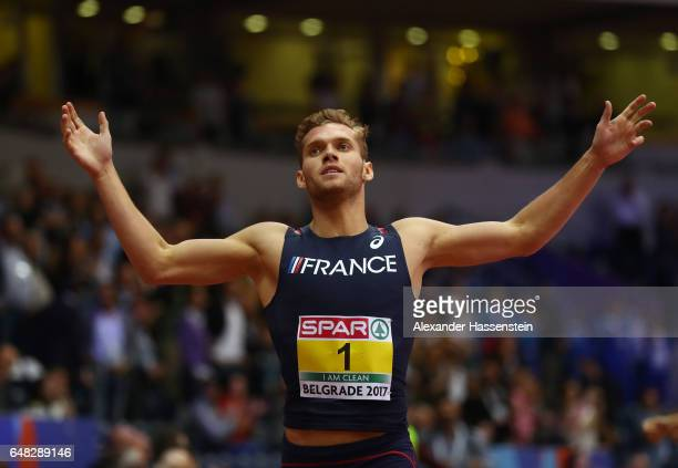 Kevin Mayer of France celebrates as he finishes fourth in the Men's Heptathlon 1000 metres to win the Men's Heptathlon title on day three of the 2017...