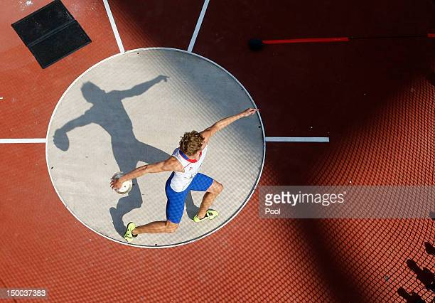 Kevin Mayer of France competes during the Men's Decathlon Discus Throw on Day 13 of the London 2012 Olympic Games at Olympic Stadium on August 9,...