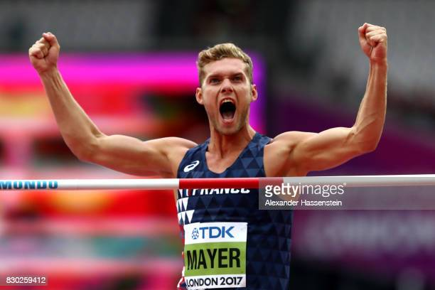 Kevin Mayer of France competes in the Men's Decathlon High Jump during day eight of the 16th IAAF World Athletics Championships London 2017 at The...