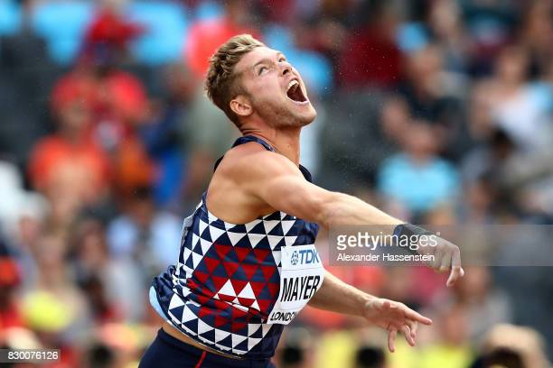 Kevin Mayer of France competes in the Men's Decathlon Shot Put during day eight of the 16th IAAF World Athletics Championships London 2017 at The...