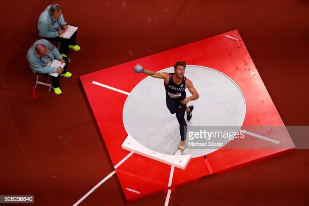 Kevin Mayer of France competes in the Shot Put Mens Heptathlon during the IAAF World Indoor Championships on Day Two at Arena Birmingham on March 2...