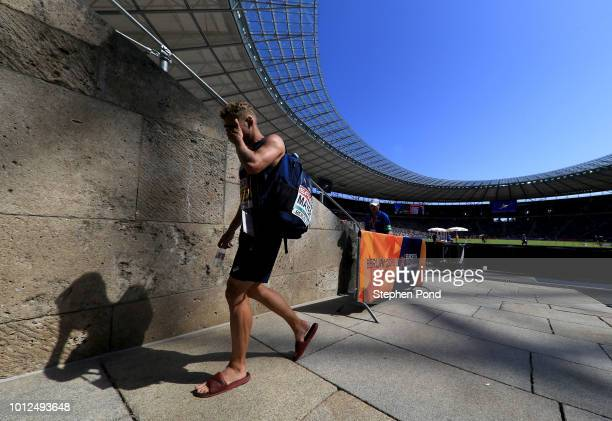 Kevin Mayer of France looks dejected as he leaves the stadium during the Men's Decathlon on day one of the 24th European Athletics Championships at...