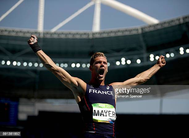 Kevin Mayer of France reacts during the Men's Decathlon Shot Put on Day 12 of the Rio 2016 Olympic Games at the Olympic Stadium on August 17 2016 in...