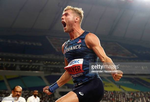 Kevin Mayer of France reacts in the Men's Decathlon Shot Put during day six of 17th IAAF World Athletics Championships Doha 2019 at Khalifa...