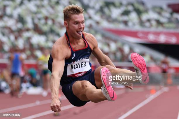 Kevin Mayer of Team France competes in the Men's Decathlon Long Jump on day twelve of the Tokyo 2020 Olympic Games at Olympic Stadium on August 04,...