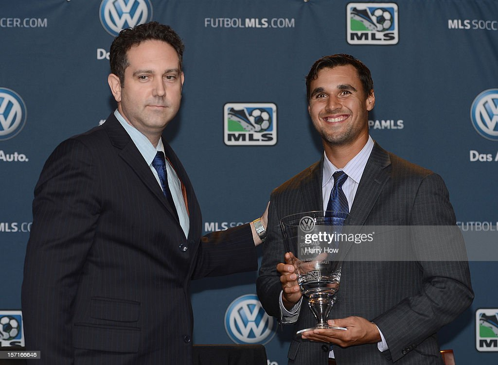 Kevin Mayer Vice-President of Marketing for Volkswagon of America presents Chris Wondolowski of the San Jose Earthquakes with the 2012 MLS Most Valuable Player Award at The Home Depot Center on November 29, 2012 in Carson, California.