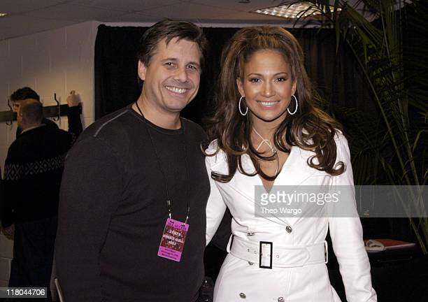 Kevin Mazur and Jennifer Lopez during Z100's Jingle Ball 2003 Backstage at Madison Square Garden in New York City New York United States