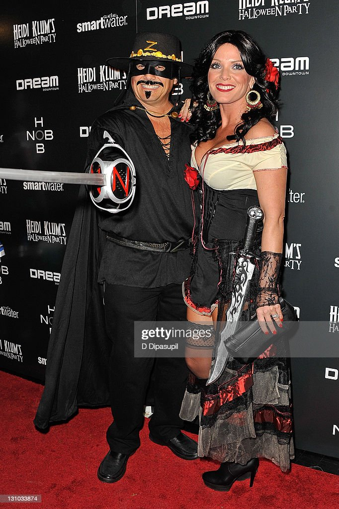 Kevin Mazur (L) and Jennifer Mazur attend Heidi Klum's 12th annual Halloween party at the PH-D Rooftop Lounge at Dream Downtown on October 31, 2011 in New York City.
