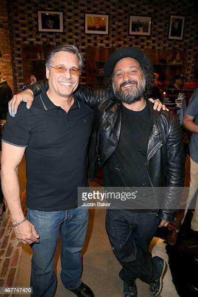 Kevin Mazur and Mr Brainwash attend A Tribute To Rock Roll hosted by Schott NYC Featuring Photographs from Photographer Kevin Mazur at The Americana...