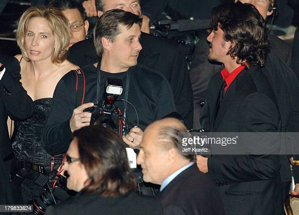 Kevin Mazur and Theo Wargo during 20th Annual Rock and Roll Hall of Fame Induction Ceremony Audience and Backstage at Waldorf Astoria Hotel in New...
