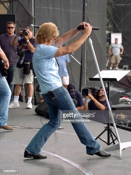 Kevin Mazur photographs Jon Bon Jovi of Bon Jovi during LIVE 8 Philadelphia Rehearsals at Philadelphia Museum of Art in Philadelphia Pennsylvania...