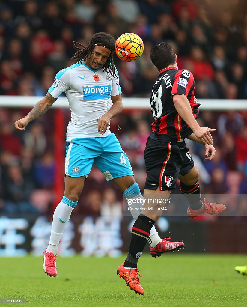 Kevin Mbabu of Newcastle United in action during the Barclays Premier League match between AFC Bournemouth and Newcastle United at Vitality Stadium on November 7, 2015 in Bournemouth, England.