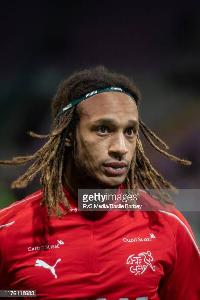Kevin Mbabu of Switzerland looks on during warm up prior to the UEFA Euro 2020 qualifier between Switzerland and Republic of Ireland on October 15...