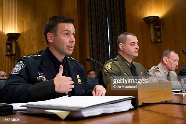 Kevin McAleenan acting deputy commissioner of US Customs and Border Protection Michael Fisher chief of the US Border Patrol and Randolph Alles...