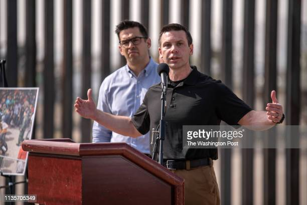 Kevin McAleenan the commissioner of US Customs and Border Protection holds a press conference just down the road from a makeshift detention center in...