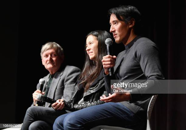 """Kevin McCarey Elizabeth Chai Vasarhelyi and Jimmy Chin speak onstage at the Docs to Watch """"Free Solo"""" QA during the 21st SCAD Savannah Film Festival..."""