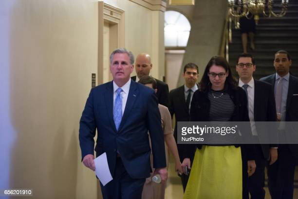 Kevin McCarthy House Majority Whip arrives on Capitol Hill in Washington DC for the weekly GOP meeting on Tuesday March 21 2017