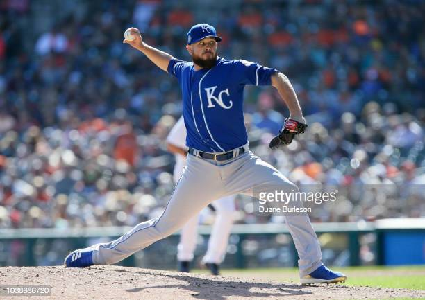 Kevin McCarthy of the Kansas City Royals pitches against the Detroit Tigers during the eighth inning at Comerica Park on September 23 2018 in Detroit...