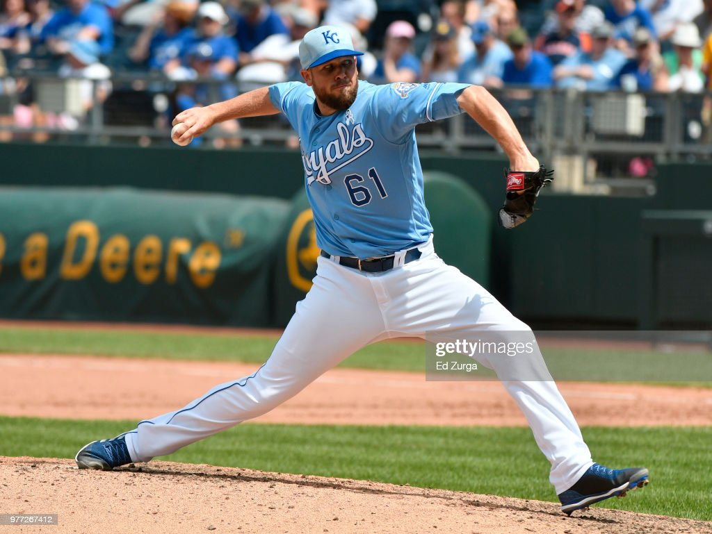 Kevin McCarthy #61 of the Kansas City Royals pitches in the seventh inning against the Houston Astros at Kauffman Stadium on June 17, 2018 in Kansas City, Missouri.