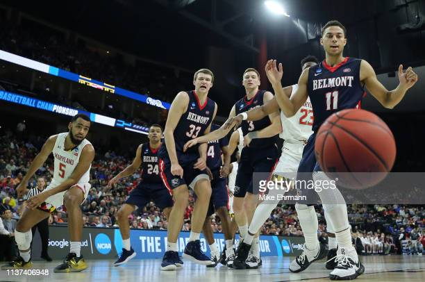 Kevin McClain of the Belmont Bruins watches the ball go out of bounds against the Maryland Terrapins in the first half during the first round of the...