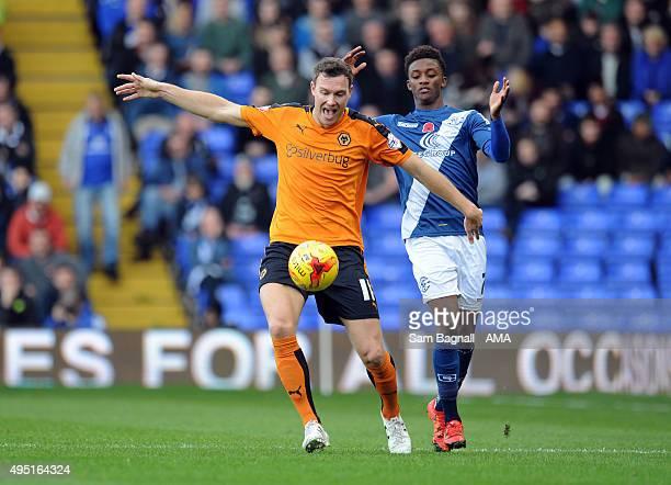 Kevin McDonald of Wolverhampton Wanderers and Demarai Gray Birmingham City during the Sky Bet Championship match between Birmingham City and...