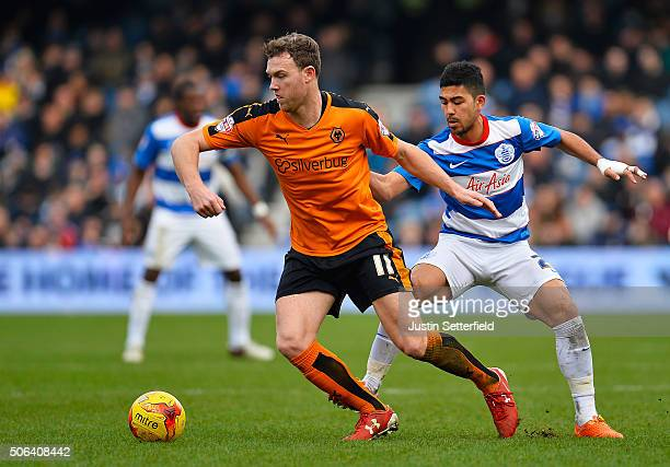 Kevin McDonald of Wolverhampton Wanderers and Massimo Luongo of Queens Park Rangers during the Sky Bet Championship match between Queens Park Rangers...