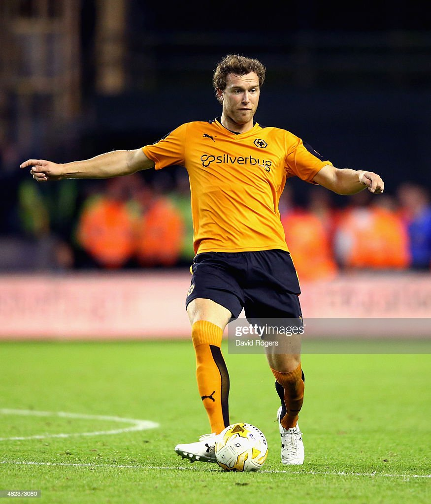 Kevin McDonald of Wolverhampton Wanderers passes the ball during the pre season friendly between Wolverhampton Wanderers and Aston Villa at Molineux on July 28, 2015 in Wolverhampton, England.