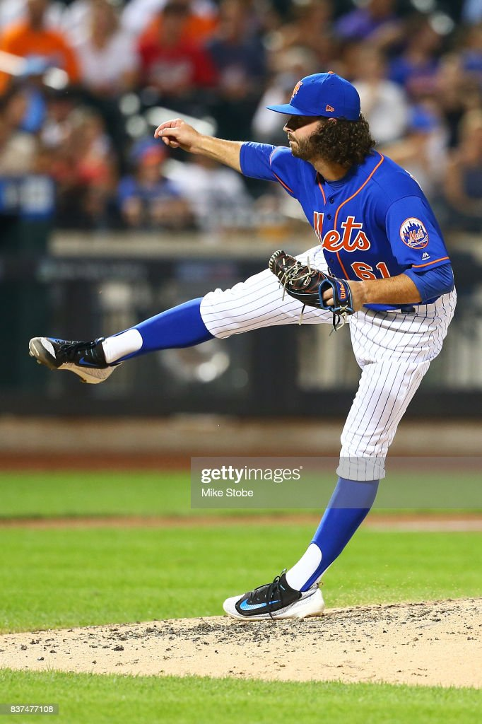 Kevin McGowan #61 of the New York Mets pitches in the fifth inning against the Arizona Diamondbacks at Citi Field on August 22, 2017 in the Flushing neighborhood of the Queens borough of New York City.