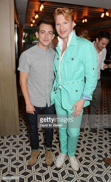Kevin McHale and Henry Conway attend Henry Conway's birthday at Pont St Restaurant in the Belgraves Hotel on July 12 2014 in London England