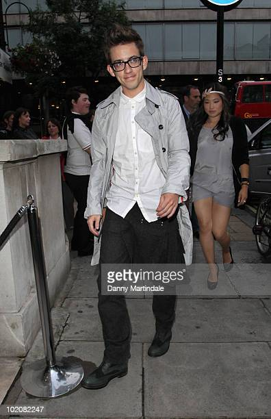 Kevin McHale and Jenna Ushkowitz attend a birthday dinner for Kevin McHale at Mint Leaf on June 14, 2010 in London, England.