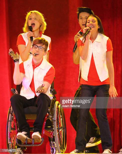 """Kevin McHale, Dianna Agron, Harry Shum, Jr, and Lea Michele of the TV show """"Glee"""" perform during Glee Live! In Concert at Target Center on June 1,..."""