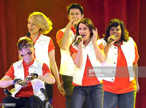 Kevin McHale, Dianna Agron, Harry Shum Jr., Lea Michele, and Amber Riley perform on the Glee! concert tour at Honda Center on May 27, 2011 in...