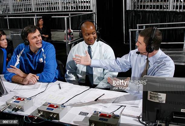Kevin McHale Eric Snow and Rick Kamla of NBA TV talk on center court at Jam Session presented by Adidas during NBA All Star Weekend at the Dallas...