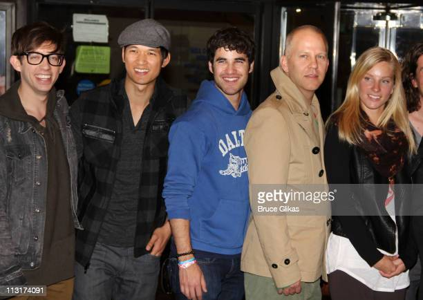 """Kevin McHale, Harry Shum Jr., Darren Criss, Ryan Murphy and Heather Morris of """"Glee"""" attend the """"Glee"""" in New York press conference at the Gershwin..."""