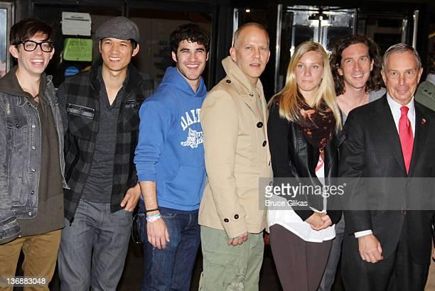 "Kevin McHale, Harry Shum Jr., Darren Criss, Ryan Murphy, Heather Morris, Ian Brennan and Mayor of New York City, Michael Bloomberg attend the ""Glee""..."