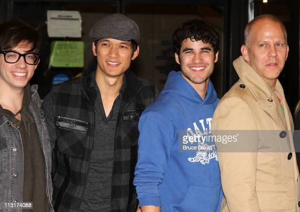 """Kevin McHale, Harry Shum Jr.,Darren Criss and Ryan Murphy attends the """"Glee"""" in New York press conference at the Gershwin Theatre on April 25, 2011..."""