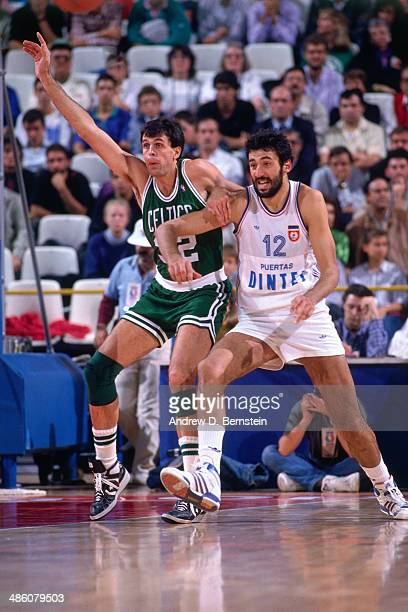 Kevin McHale of the Boston Celtics battles for position against Vlade Divac of Yugoslavia during the 1988 McDonald's Championships on October 21 1988...