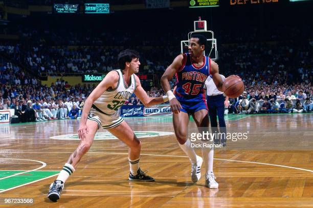 Kevin McHale of the Boston Celtics defends Adrian Dantley of the Detroit Pistons circa 1988 at the Boston Garden in Boston, Massachusetts. NOTE TO...