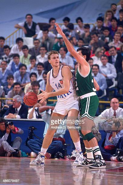 Kevin McHale of the Boston Celtics defends against Yugoslavia during the 1988 McDonald's Championships on October 21 1988 at the Palacio de los...