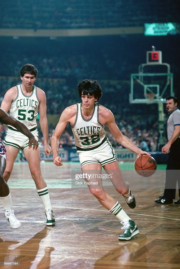 Kevin McHale #32 of the Boston Celtics drives to the basket during a game played in 1983 at the Boston Garden in Boston, Massachusetts.
