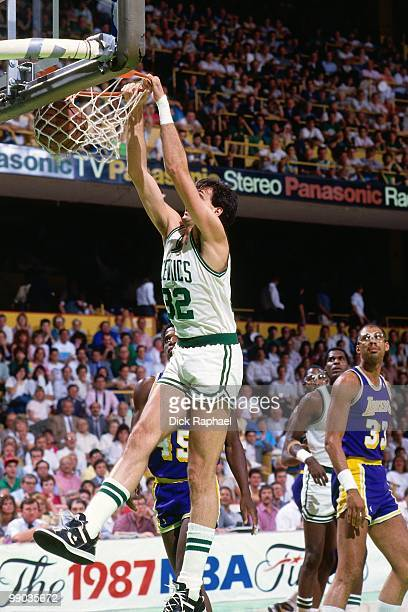 Kevin McHale of the Boston Celtics dunks against the Los Angeles Lakers during the 1987 NBA Finals at the Boston Garden in Boston Massachusetts The...