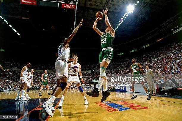 Kevin McHale of the Boston Celtics shoots a jump shot against the Cleveland Cavaliers in game one of the 1992 NBA SemiFinals of the Eastern...