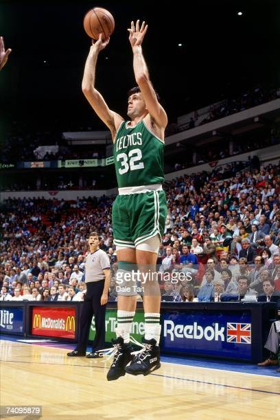 Kevin McHale of the Boston Celtics shoots a jumper against the Minnesota Timberwolves during a game played in 1993 at the Target Center in...