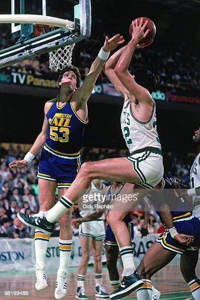 Kevin McHale of the Boston Celtics shoots against Mark Eaton of the Utah Jazz during a game played in 1985 at the Boston Garden in Boston...