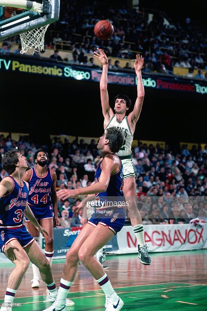 Kevin McHale #32 of the Boston Celtics shoots against the New Jersey Nets during a game played in 1986 at the Boston Garden in Boston, Massachusetts.